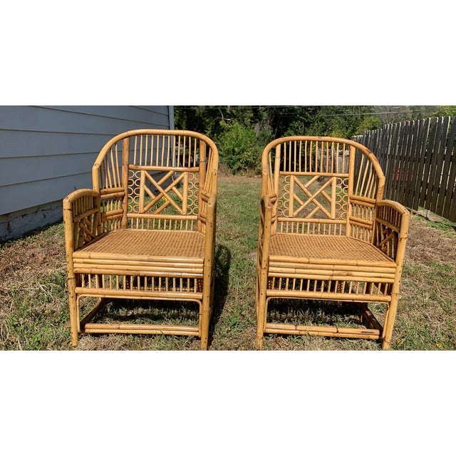 I have a pair of antique Chinese bamboo chairs. They are in really good condition with normal wear. These two chairs are a...