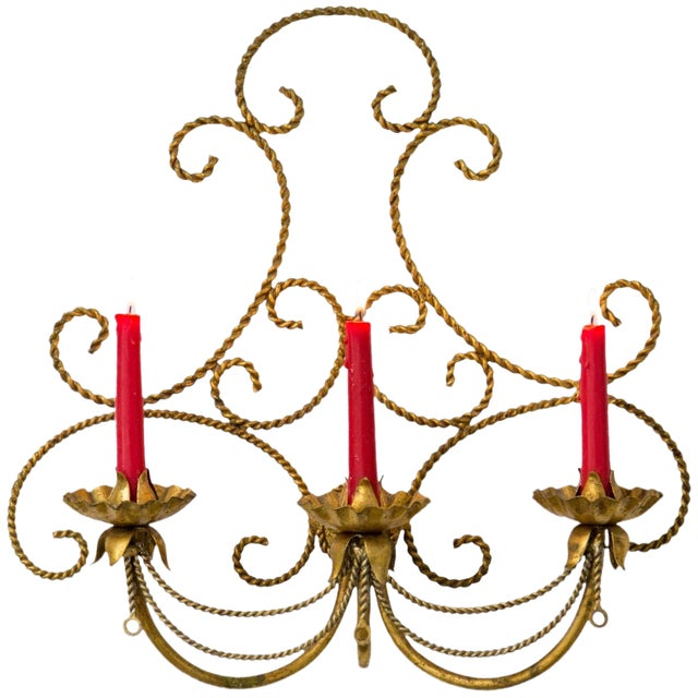 Italian Gilded Tole 3-Candle Wall Sconce For Sale