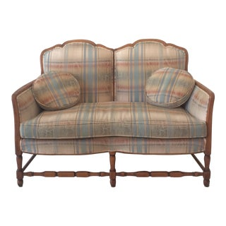 French Provincial Style Plaid Upholstered Loveseat Sofa