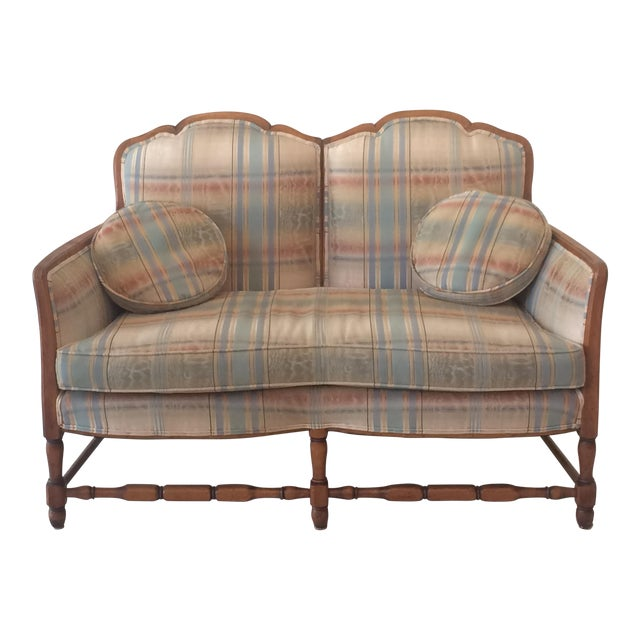 Pleasing French Provincial Style Plaid Upholstered Loveseat Sofa Pabps2019 Chair Design Images Pabps2019Com