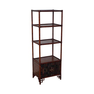 Maitland Smith Regency Style Faux Book Tooled Leather Etagere For Sale