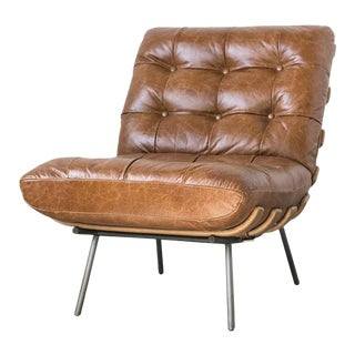 Vintage Mid Century Leather Chair For Sale