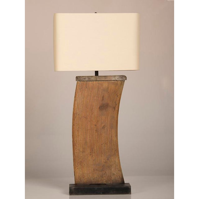 Contemporary Vintage French Industrial Large Iron Fragment Now Mounted as a Lamp circa 1930 For Sale - Image 3 of 5