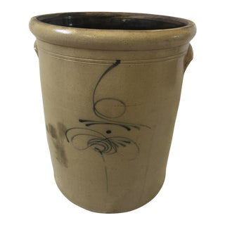 Mid-1800's Salt Glazed Stoneware Crock With Elephant Ear Handles For Sale