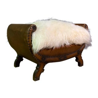 1930s Otto Schulz Leather & Sheepskin Footstool For Sale