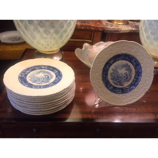 Transitional French Country Blue Transferware Charger Round Plates - Set of 12 For Sale - Image 3 of 13