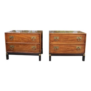 1970s Mid-Century Modern Henredon Nightstands with Brass Accent - a Pair For Sale