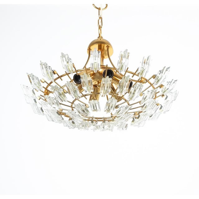 Stilkrone Italian Stilkrone Crystal Glass and Gilded Brass Flush Mount For Sale - Image 4 of 8