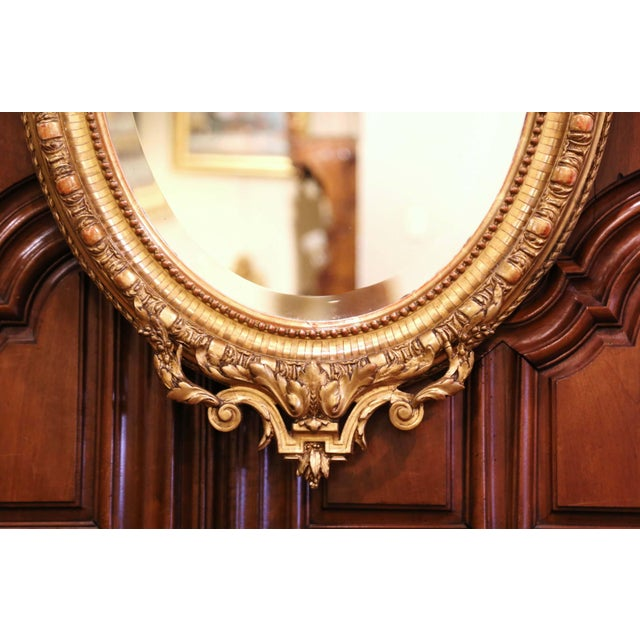 Mid 19th Century 19th Century French Louis XVI Carved Giltwood Oval Wall Mirror With Torch Motif For Sale - Image 5 of 12