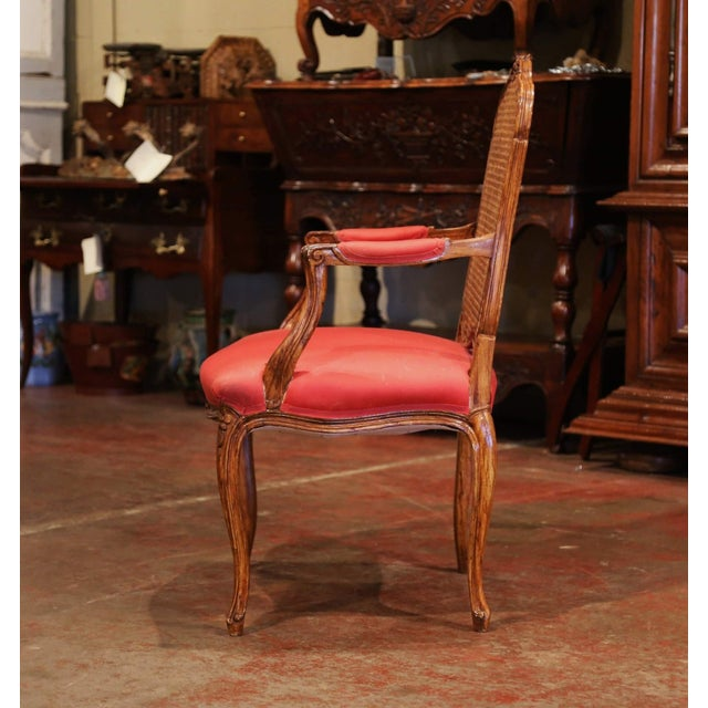 Early 20th Century French Louis XV Carved Walnut Desk Armchair For Sale - Image 4 of 12