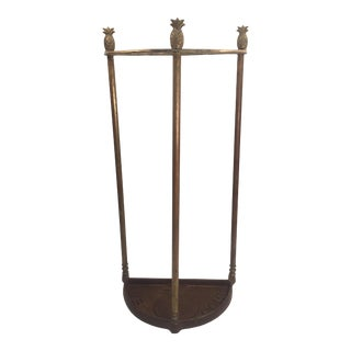 Antique Brass Pineapple Umbrella Stand With Iron Base For Sale