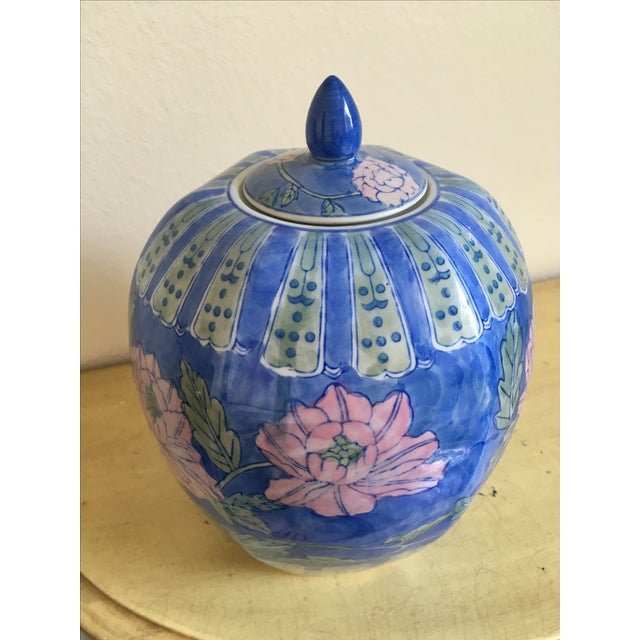 Vintage Large Chinoiserie Blue Ginger Jar & Lid - Image 4 of 10