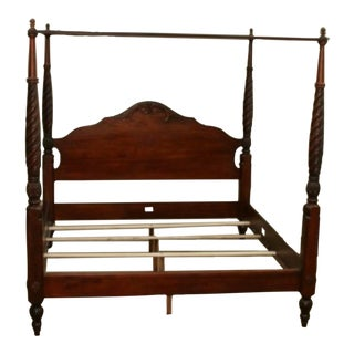 Ethan Allen British Classic Montego Canopy Solid Wood King Size Four Poster Bed For Sale