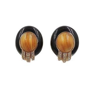 1980s Ciner Cabochon Faux-Agate & Black Enamel Earrings For Sale