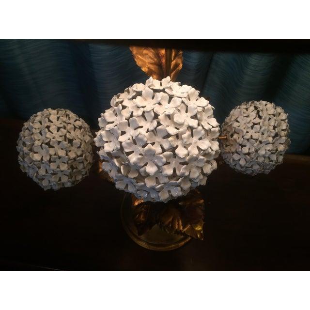 Metal Italian Hydrangea Tole Table Lamp For Sale - Image 7 of 11