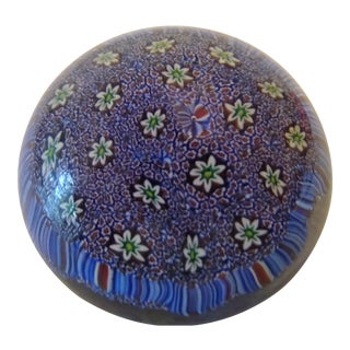 Vintage Millefiori Blue Murano Blown Glass Paperweight For Sale