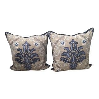 Embroidered Scalamandré Pillows - A Pair