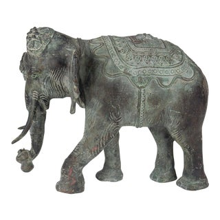 Antique Colossal Solid Bronze Indian Elephant Sculpture For Sale