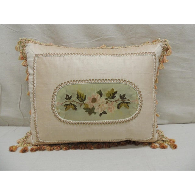 Antique Aubusson Center Tapestry Decorative Pillow For Sale - Image 9 of 9