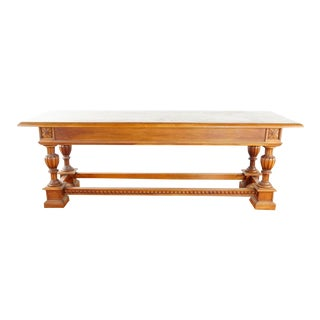 Large Antique Oak 3 Drawer Library Table For Sale
