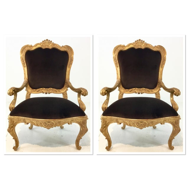 Textile Vintage Italian Gold Gilt and Chocolate Velvet Carved Wood Arm Chairs - a Pair For Sale - Image 7 of 7