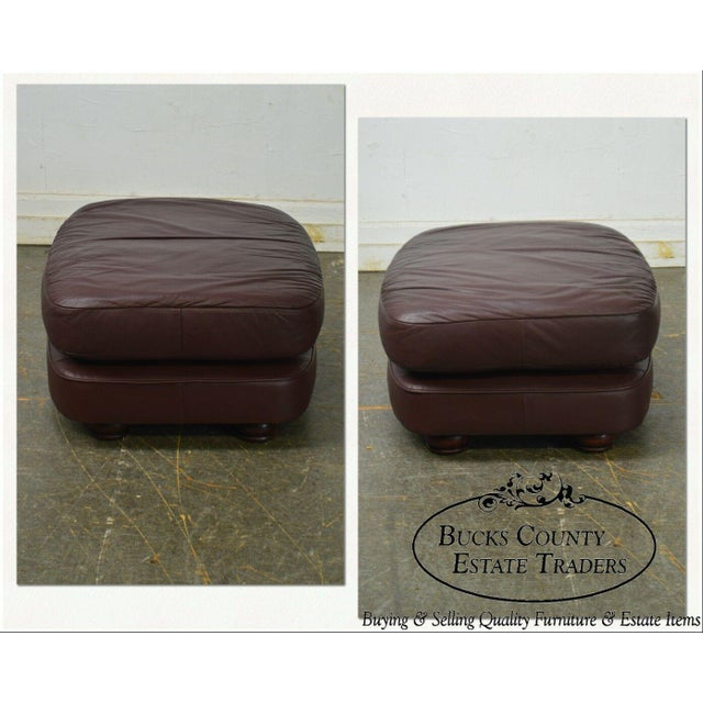 2000 - 2009 Classic Leather Bun Foot Russet Brown Leather Ottoman For Sale - Image 5 of 13