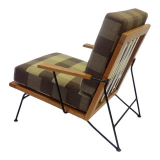 Pipsan Saarinen Robert Swanson Wood on Wrought Iron Frame Lounge Chairs - a Pair For Sale