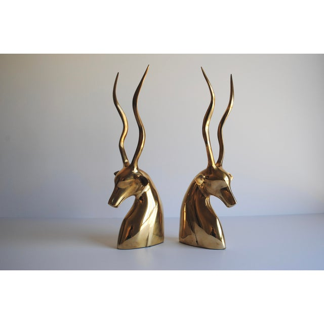 Mid-Century Brass Kudu Bookends - Image 3 of 4