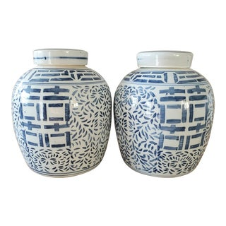 Chinoiserie Blue & White Ginger Jars, a Pair For Sale