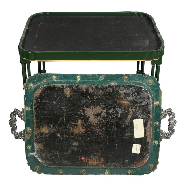 Victorian Papier Mâché and Silver Plate Tray Table For Sale - Image 10 of 11