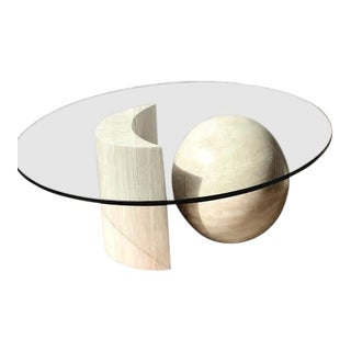 Post Modern Italian Travertine Sphere and Moon Glass Coffee Table For Sale