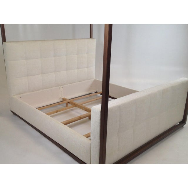 Modern Modern Canopy Bed With Copper Finish and Chenille Fabric For Sale - Image 3 of 8