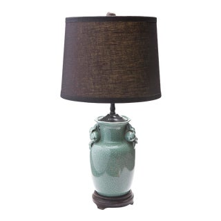 1980s Asian Celedon Lamp with Black Linen Shade For Sale