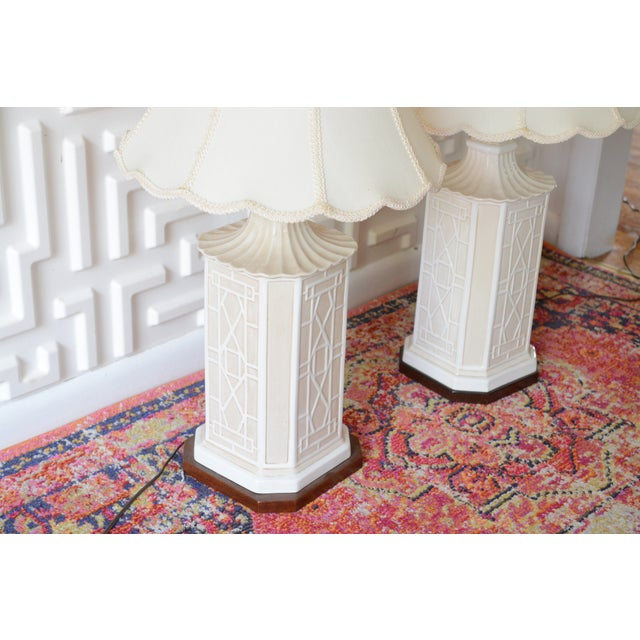 This listing is for a pair of fabulous, midcentury table lamps by Frederick Cooper. They have a chinoiserie style to them...