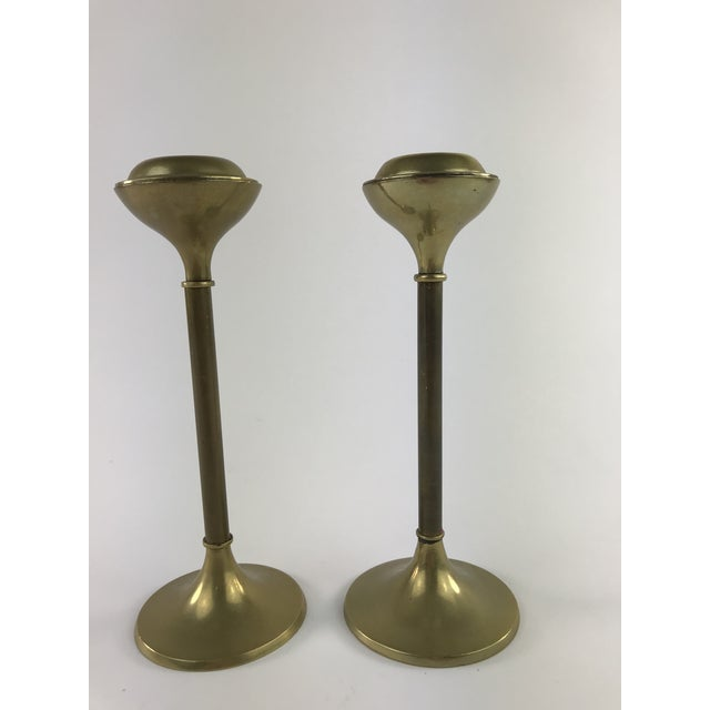 Gold 1960s Slender Brass Candlesticks - a Pair For Sale - Image 8 of 8