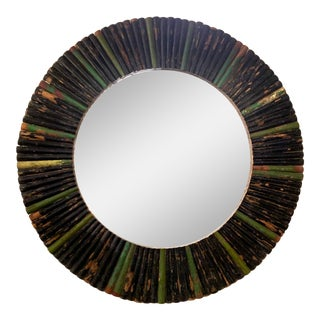 Round Mirror With Reclaimed Black and Green Distressed Painted Wooden Peg Frame For Sale