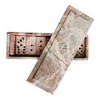 Vintage Pink Marble Domino Game Set For Sale