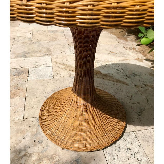 Brown Vintage Wicker Rattan Dining Table For Sale - Image 8 of 13
