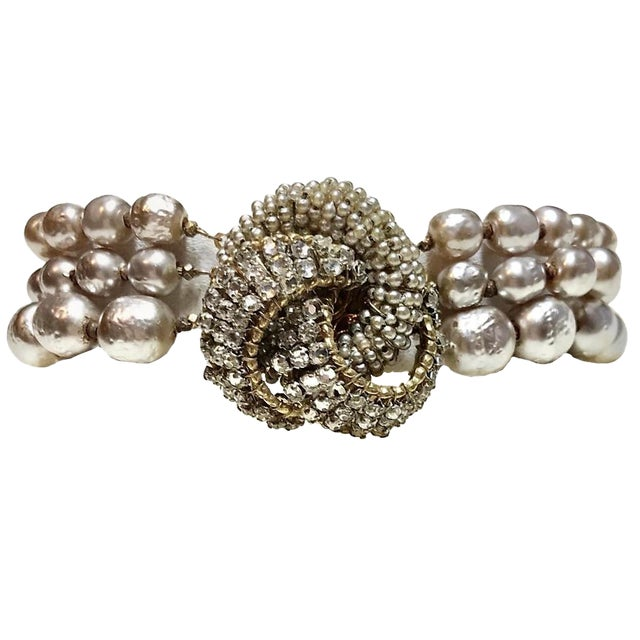 Miriam Haskell Baroque Faux-Pearl and Rhinestone Bracelet For Sale