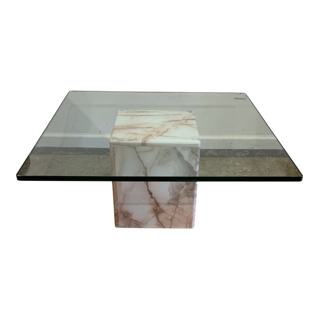 1970s Glass and Pink Marble Coffee Table For Sale