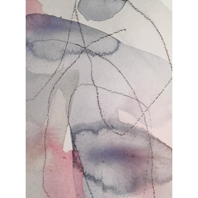"Abstract ""Structured Powder"" Original Watercolor & Charcoal Painting For Sale - Image 3 of 3"