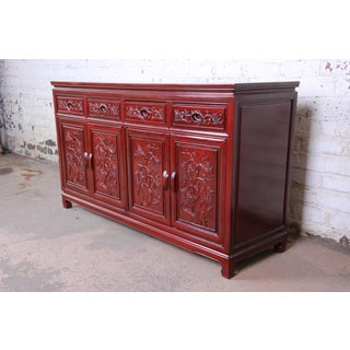 Vintage Chinese Carved Rosewood Sideboard Credenza Preview