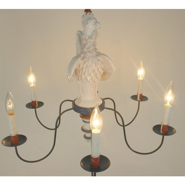 "Ceramic Country French ""Rooster"" Chandelier For Sale - Image 7 of 11"