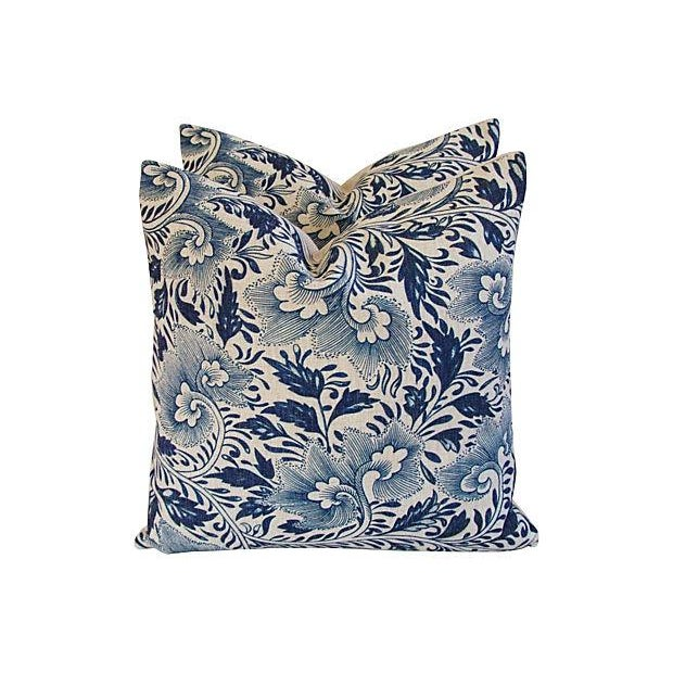 Blue Floral Linen Down/Feather Pillows - A Pair - Image 1 of 7