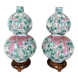Rare Enamelled 'Huluping' Chinese Double Gourd Pink and Blue Vases With Wood Stands - a Pair For Sale