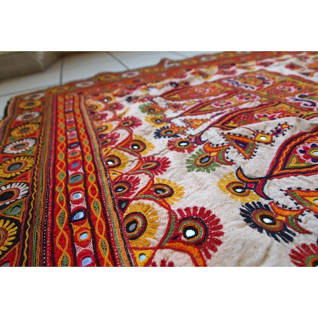 1950s Indian Embroidered Wall Tapestry For Sale - Image 4 of 10