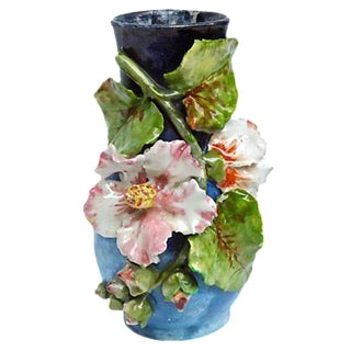 Antique French Barbotine Majolica Floral Vase For Sale