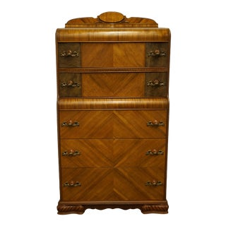 1940s Antique Vintage Arts and Crafts Style Bookmatched Chest on Chest For Sale