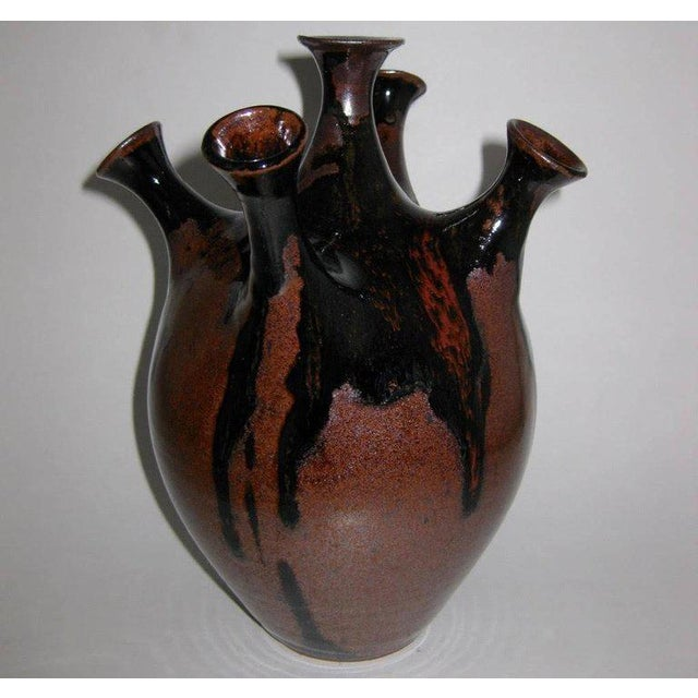 Studio Pottery Five-Chimney Weed Pot Vase With Drip Glaze For Sale - Image 4 of 8