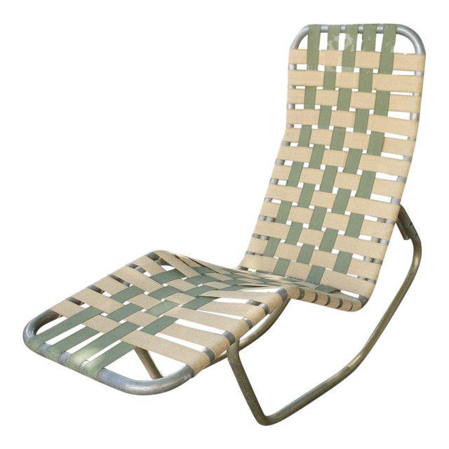 1950s Vintage Aluminum Webbed Surfboard Pool Rocking Lounge Chair For Sale